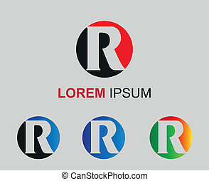 Set of alphabet symbols and elements of letter R, such a...