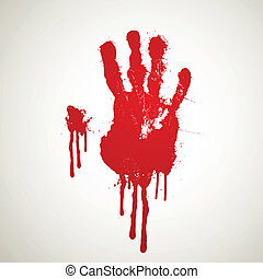 Vector Bloody Hand Print - Vector Illustration of a Bloody...