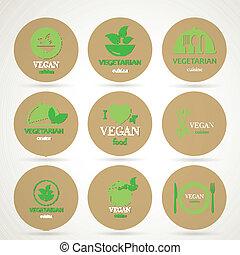 Vector Vegan and Vegetarian Food Emblems