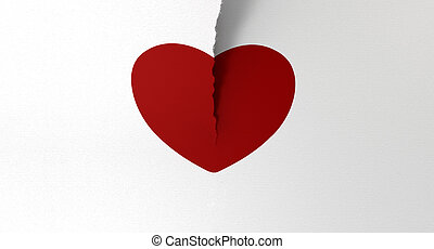 Drawn Red Heart Torn In Two - A white piece of paper tearing...
