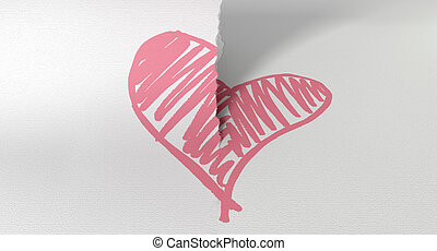 Sketched Pink Heart Torn In Two - A white piece of paper...