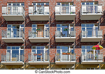 Facade with a lot of balconies - View of a modern apartment...