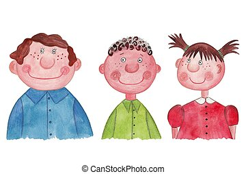Children. Cartoon characters - Artistic work. Watercolors on...