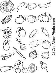 Set of fruits and vegetables - Set of silhouettes of a...