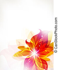 Abstract flower - Glowing orange flower on a white...