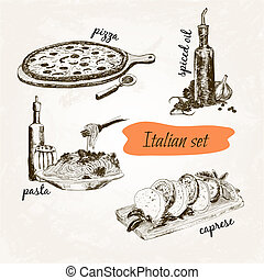 Italian set Set of hand drawn graphic illustrations