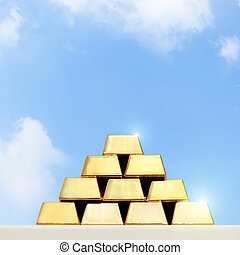 gold - stacks and rows of gold ingots or golden bullions...