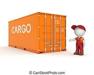 3d small person in a workwear near container.