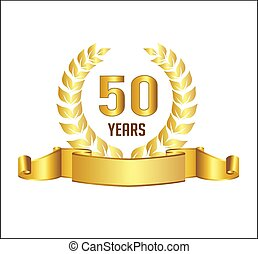 Golden 50 years anniversary with laurel wreath ribbon