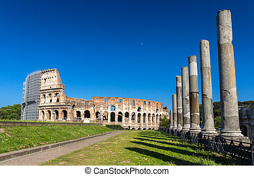 View of Colosseum from Temple of Venus and Roma