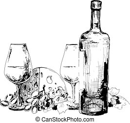Wine, cheese and grapes. Hand drawn graphic illustration