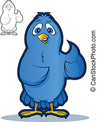 Blue Bird Mascot - Illustration of a happy bird character