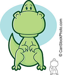 Dinosaur Character - Cute green dinosaur cartoon mascot