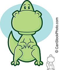 Dinosaur Character - Cute green dinosaur cartoon mascot