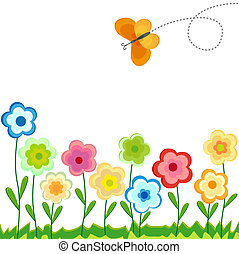 Colored floral background - vector