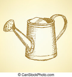 Sketch watering can, vector vintage background eps 10