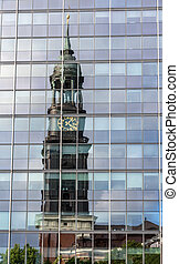 St. Michaelis Church reflected in the glass - Hamburg