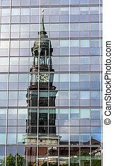 St. Michaelis Church reflected in the glass - Hamburg