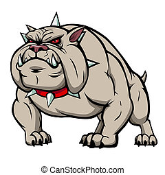 Bulldog - Vector illustration of a gray angry bulldog