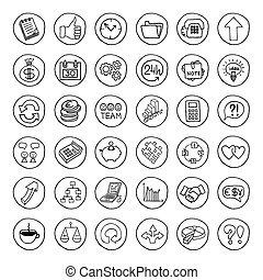 Hand drawn business set of buttons. - Hand drawn business...