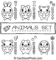 Hand drawn set of japanese style baby animals. Vector...