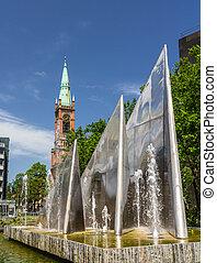 Modern fountain in Dusseldorf, Germany