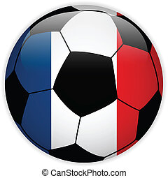 France Flag with Soccer Ball Background - Vector - France...