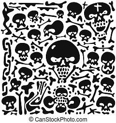 Skulls and bones doodles