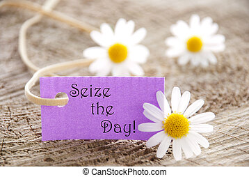 Label with Seize the Day - A Purple Label with the Words...
