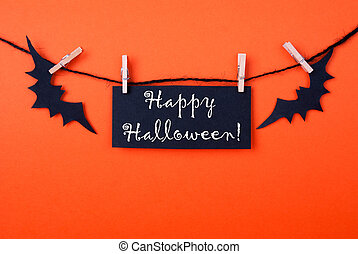 Orange Background with Black Halloween Label - Orange...