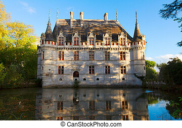 Azay-le-Rideau castle, France - Azay-le-Rideau castle in the...