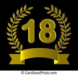 dix-huit, Anniversaire, moyens, anniversaire, fête,...