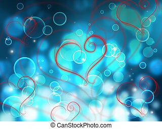 Bokeh Heart Shows Valentines Day And Abstract
