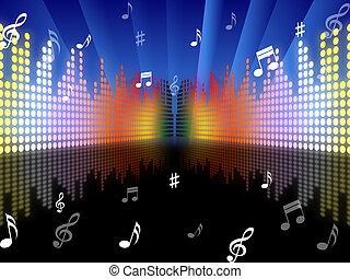 Plano de fondo, Música, representa, sonido, pista, y,...