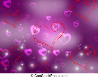 Heart Background Shows Valentine Day And Affection