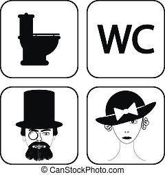 Male and female restroom symbol icons in retro style Vector...