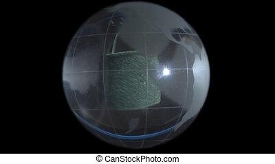 Globe on a castle background