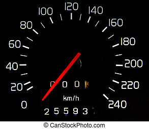 Car Mileage - The black dial that distance, speed of cars.