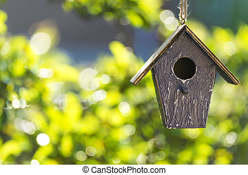 Bird House in Summer Sunshine and Green Leaves - A bird...