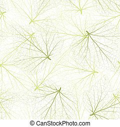 Seamless vector background. Green leaves with veins.
