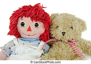 teddy bear with old rag doll - Old rag doll with teddy bear...