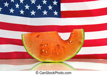 watermelon slice with flag
