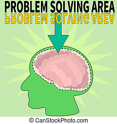 Problem solving area that points to the brain of a person