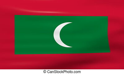 Waving Maldives Flag, ready for seamless loop