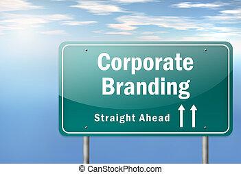 Highway Signpost Corporate Branding - Highway Signpost with...