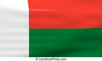 Waving Madagascar Flag, ready for seamless loop.