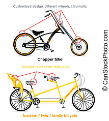 Bicycle types, set III - Chopper bike and tandem family...