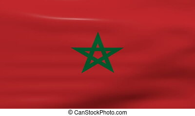 Waving Morocco Flag, ready for seamless loop