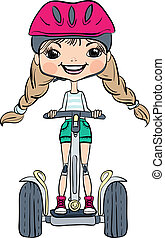 Vector cute baby girl riding a Segway - Cute hipster baby...