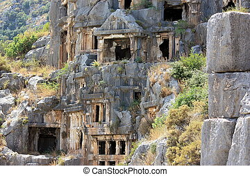 Rock-cut tombs in ancient town Myra Turkey
